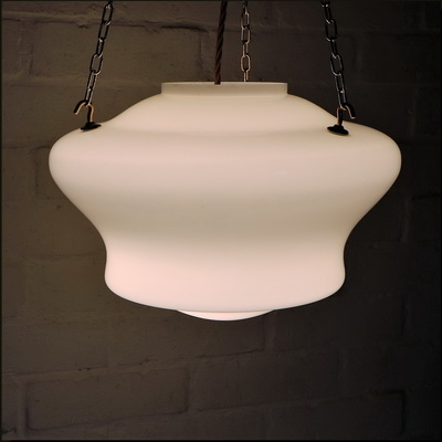 Rebuilding an Antique Milk Glass Ceiling Light – A Vintage Schoolhouse Pendant.
